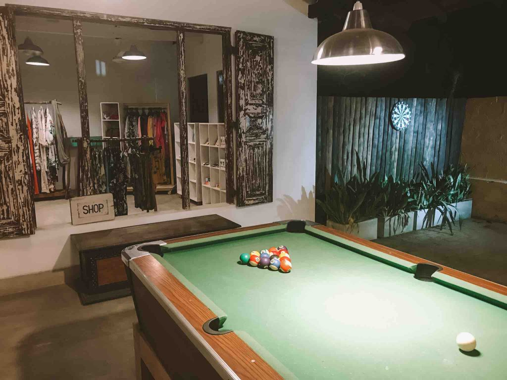 Playing pool at Hiri 580