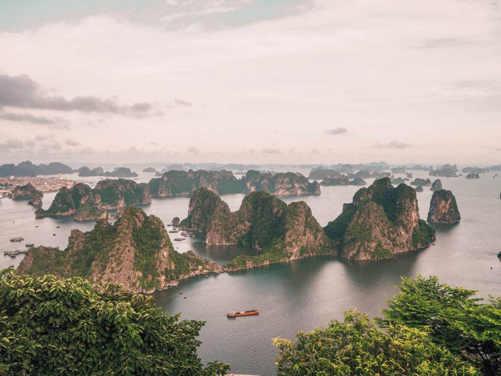 View of Halong Bay from the top of Bai Tho Mountain
