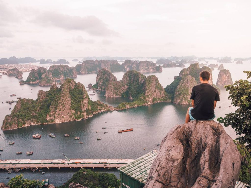 The view of Halong Bay from the top of Bai Tho Mountain