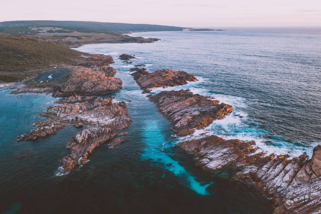 Aerial view of Canal Rocks at sunset