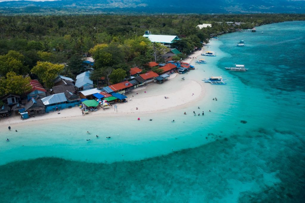 Aerial view of White Beach in Moalboal | South Cebu Itinerary