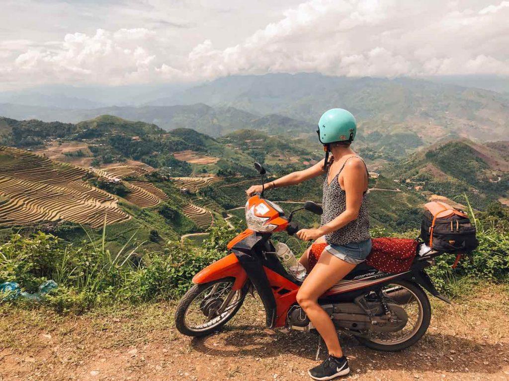 Rice terraces seen from the Ha Giang bike loop