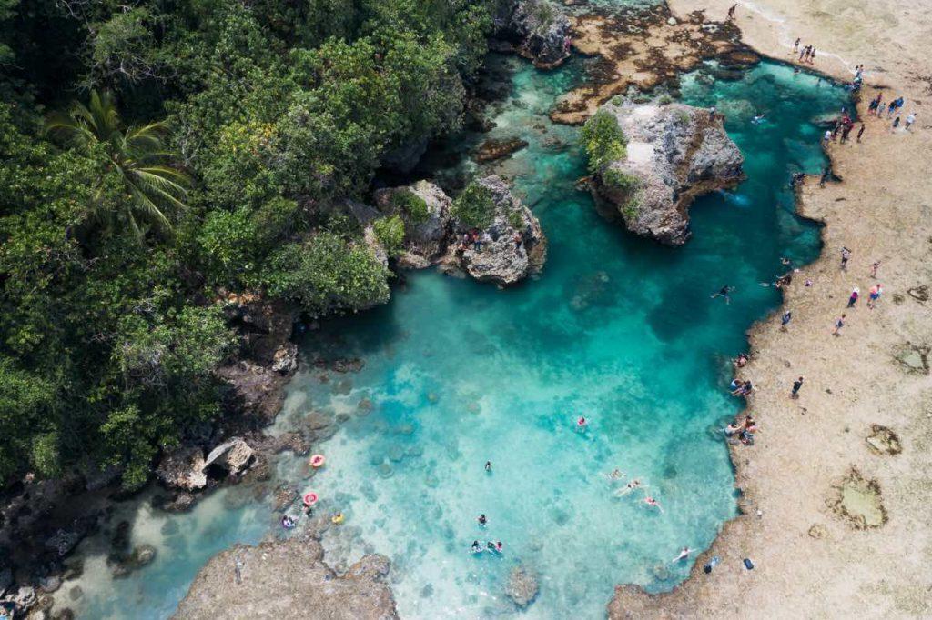 Siargao Rock Pool on Siargao Island drone shot