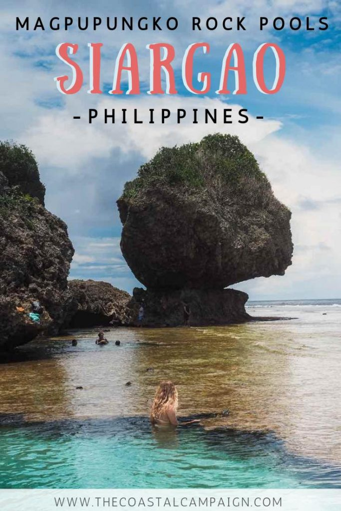 SIARGAO ROCK POOLS | Magpupungko Rock Pools | The ultimate natural swimming hole on Siargao Island in the Philippines. Magpupungko Rock Pools are an epic natural rock formation that should be on your Siargao bucketlist!