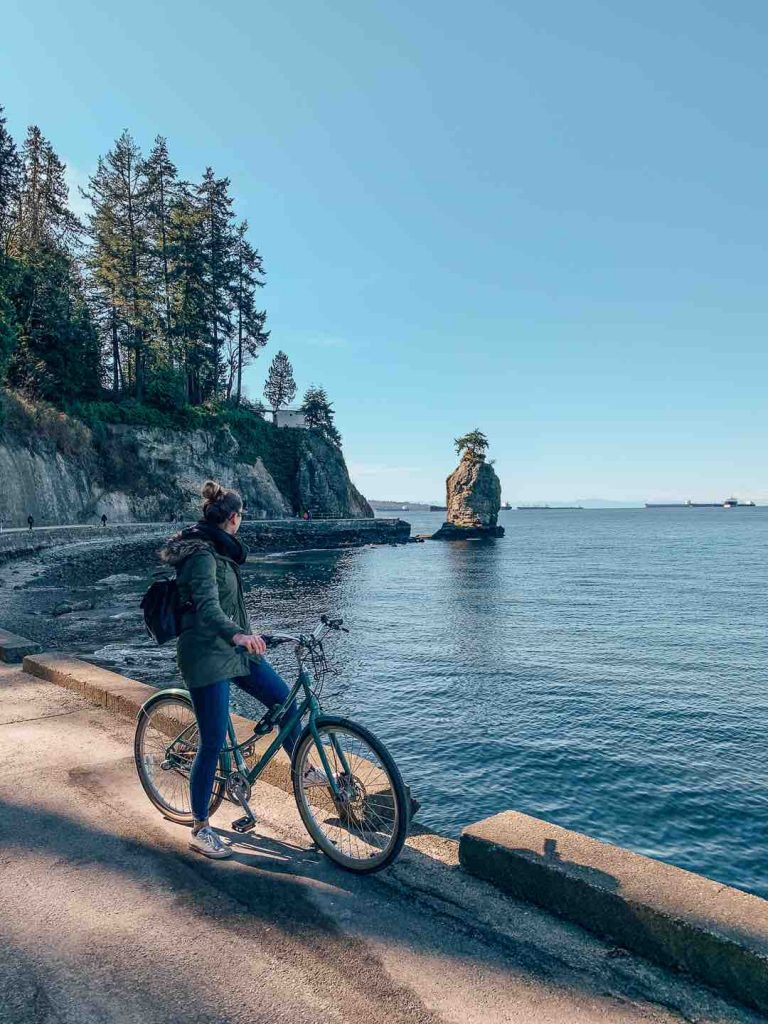 Siwash Rock while biking Stanley Park