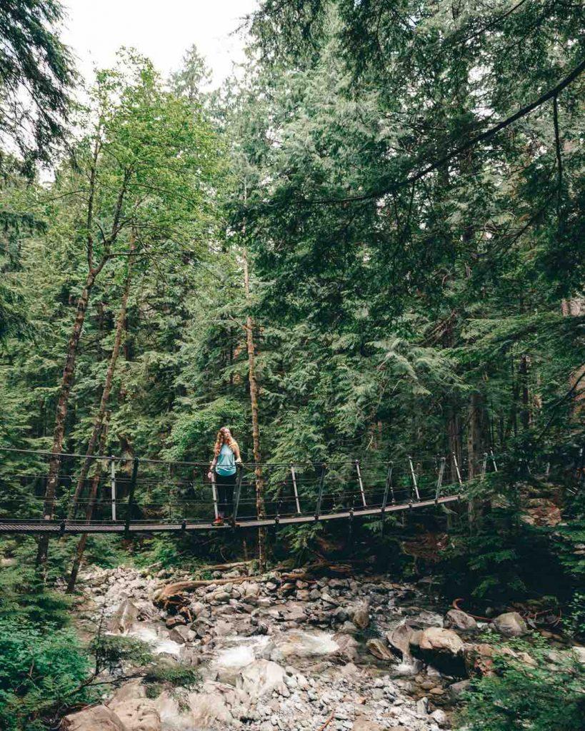 Suspension bridge in Lynn Headwaters Regional Park