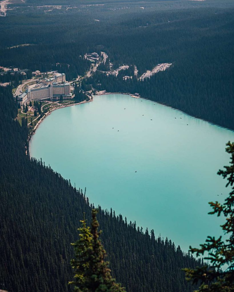 Fairmont Chateau Lake Louise from above