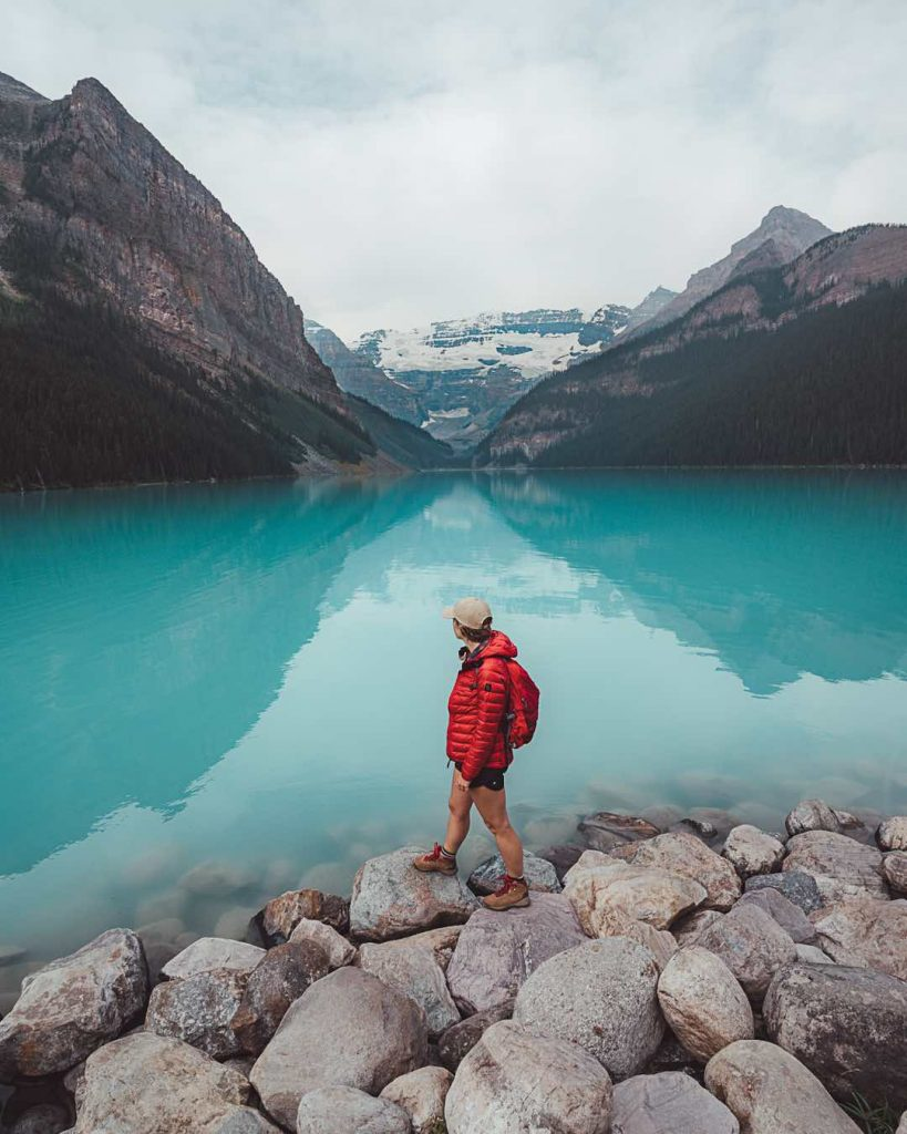 The edge of Lake Louise in Banff National Park