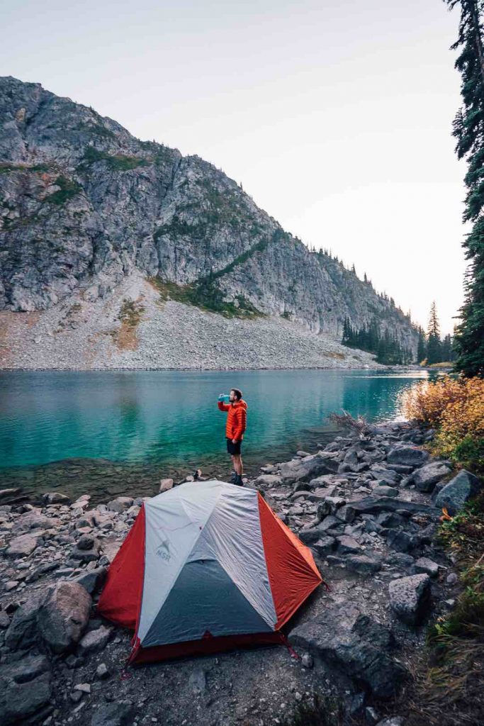 Camping at the edge of Rohr Lake at sunset